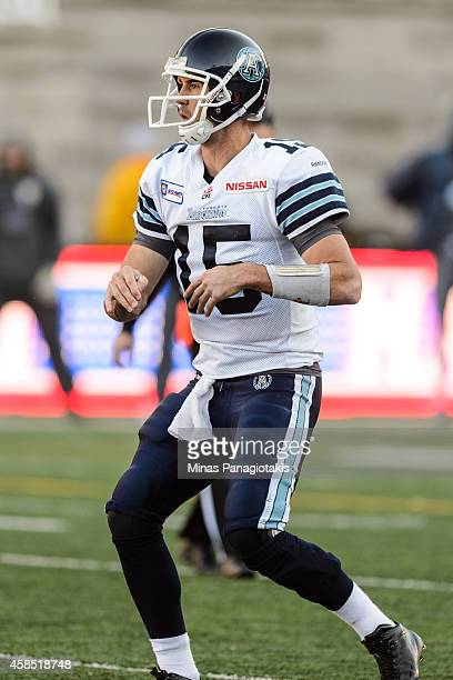 Ricky Ray of the Toronto Argonauts looks on during the CFL game against the Montreal Alouettes at Percival Molson Stadium on November 2 2014 in...