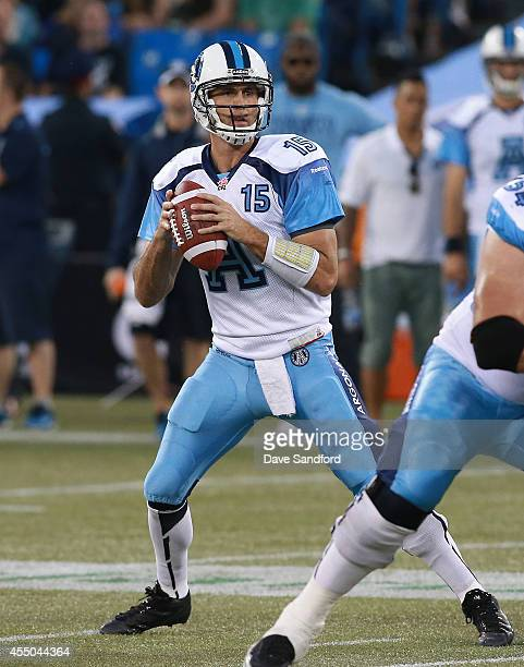 Ricky Ray of the Toronto Argonauts looks to make a pass against the BC Lions during their game at Rogers Centre on August 17 2014 in Toronto Canada