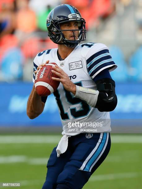 Ricky Ray of the Toronto Argonauts looks to pass against the Edmonton Eskimos during a game at BMO field on September 16 2017 in Toronto Ontario...