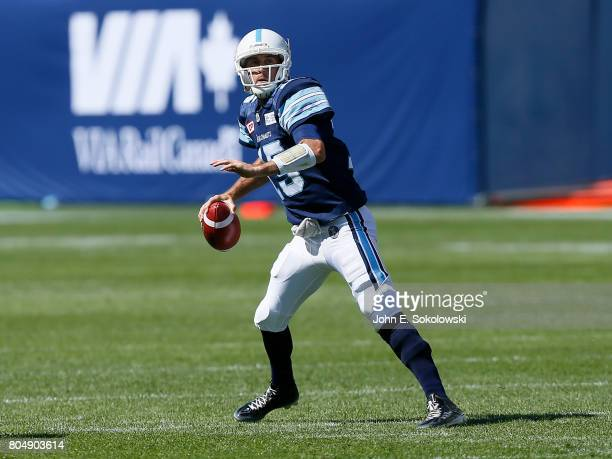 Ricky Ray of the Toronto Argonauts looks to pass against the Hamilton TigerCats during a CFL game at BMO Field on June 25 2017 in Toronto Ontario...