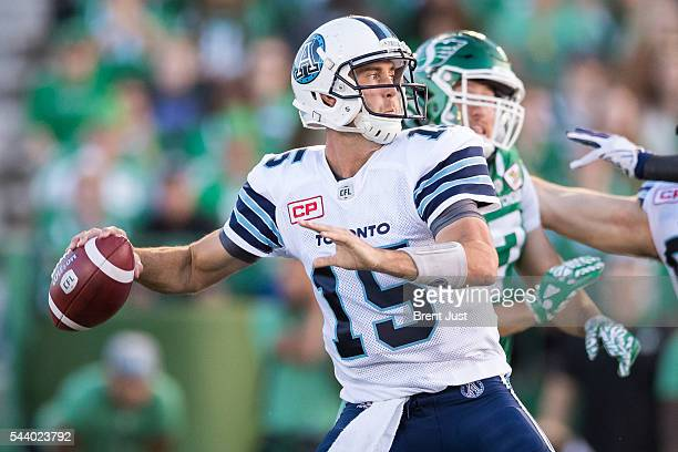 Ricky Ray of the Toronto Argonauts looks to pass during first half action of the game between the Toronto Argonauts and Saskatchewan Roughriders at...