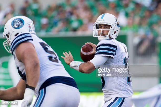 Ricky Ray of the Toronto Argonauts looks to throw in the game between the Toronto Argonauts and Saskatchewan Roughriders at Mosaic Stadium on July 29...