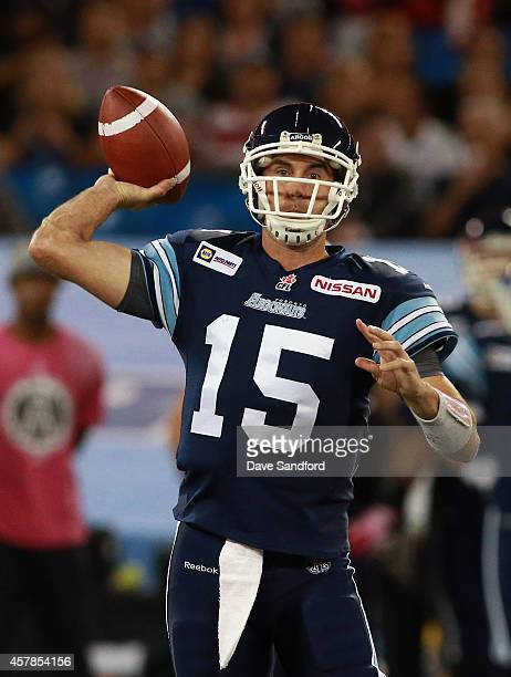 Ricky Ray of the Toronto Argonauts makes a pass against the Hamilton TigerCats during their game at Rogers Centre on October 25 2014 in Toronto Canada