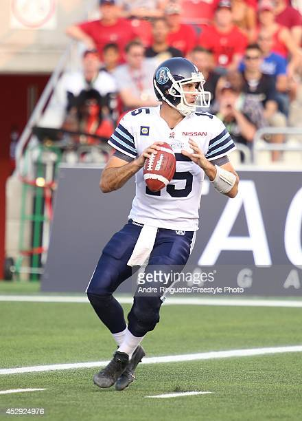 Ricky Ray of the Toronto Argonauts passes against the Ottawa Redblacks during a CFL game at TD Place Stadium on July 18 2014 in Ottawa Ontario Canada