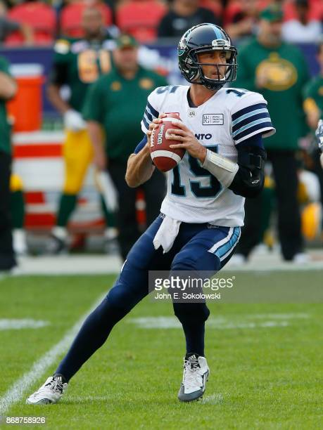 Ricky Ray of the Toronto Argonauts sets up to pass against hte Edmonton Eskimos during a game at BMO field on September 16 2017 in Toronto Ontario...