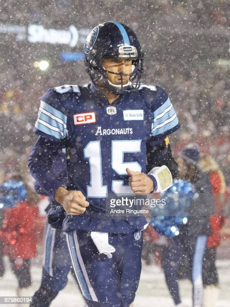 Ricky Ray of the Toronto Argonauts takes to the field prior to the 105th Grey Cup Championship Game against the Calgary Stampeders at TD Place...