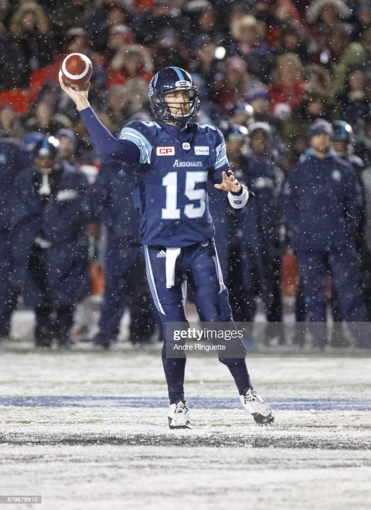 Ricky Ray #15 of the Toronto Argonauts throws the ball against the Calgary Stampeders during the second half of the 105th Grey Cup Championship Game at TD Place Stadium on November 26, 2017 in Ottawa, Canada.