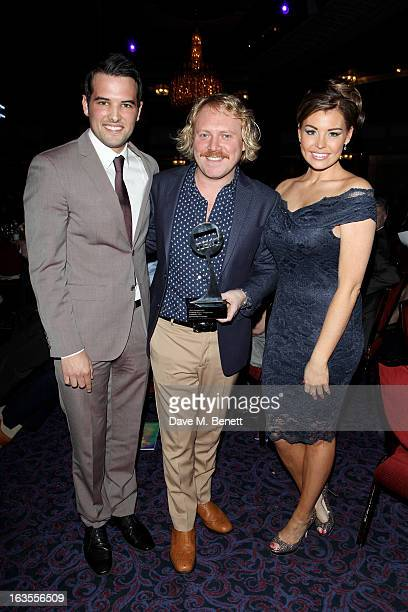 Ricky Rayment Leigh Francis aka Keith Lemon and Jessica Wright pose with the Satellite/Digital Programme award for Celebrity Juice at the TRIC...