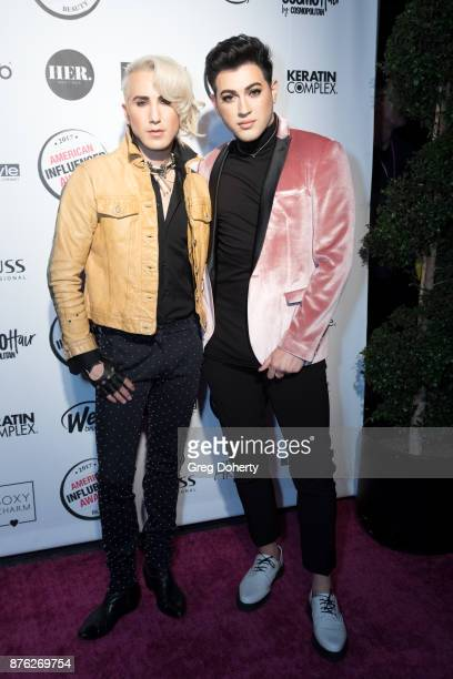 Ricky Rebel and Manny MUA attend the American Influencer Award at The Novo by Microsoft on November 18 2017 in Los Angeles California
