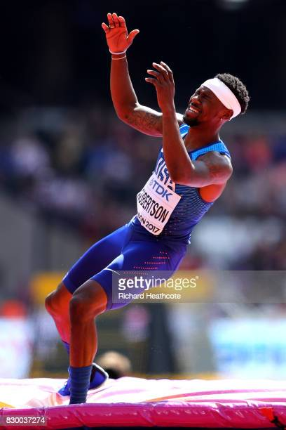 Ricky Robertson of the United States reacts as he competes in the Men's High Jump qualification during day eight of the 16th IAAF World Athletics...