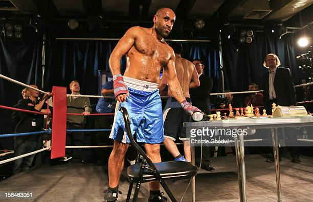 Ricky Rock and Jack Page in the ring during the Chessboxing 2012 Season Finale at Scala on December 8 2012 in London England