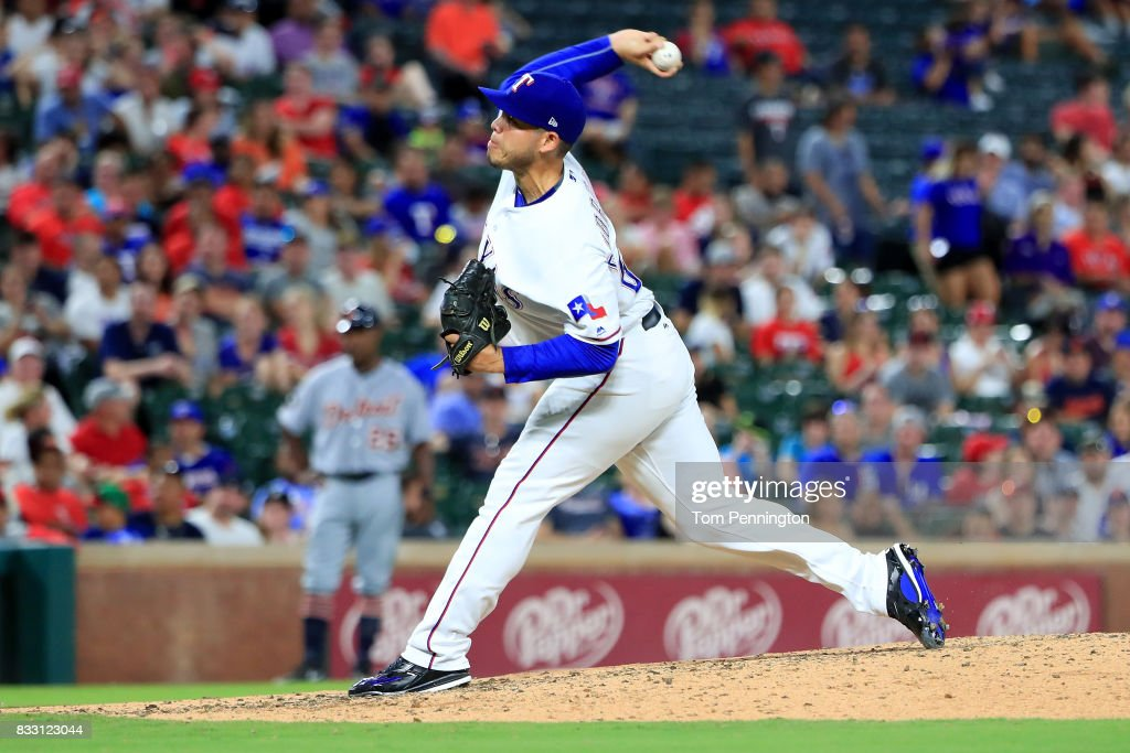 Ricky Rodriguez #68 of the Texas Rangers pitches against the Detroit Tigers in the top of the seventh inning at Globe Life Park in Arlington on August 16, 2017 in Arlington, Texas.