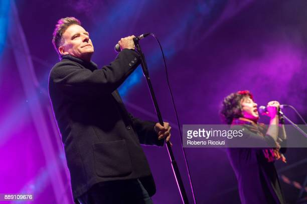 Ricky Ross and Lorraine McIntosh of Deacon Blue perform on stage during Sleep In The Park a Mass Sleepout organised by Scottish social enterprise...