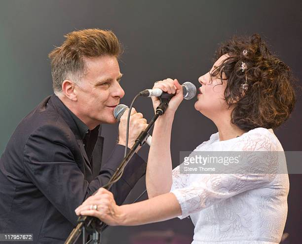 Ricky Ross and Lorraine McIntosh of Deacon Blue perform on stage during the second day of Cornbury Festival on July 2 2011 in Oxford United Kingdom
