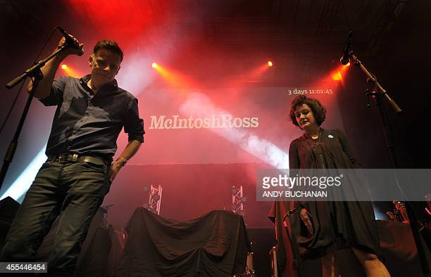 Ricky Ross and Lorraine McIntosh of McIntoshRoss perform at the 'A Night For Scotland' proindependence concert at the Usher Hall in Edinburgh...