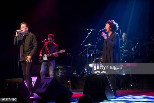 Ricky Ross Lewis Gordon Lorraine McIntosh and Dougie Vipond of Scottish Band Deacon Blue perform on stage during Barcelona Guitar Festival at Sala...
