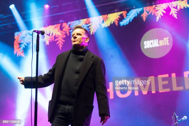 Ricky Ross of Deacon Blue performs on stage during Sleep In The Park a Mass Sleepout organised by Scottish social enterprise Social Bite to end...