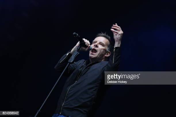Ricky Ross of Scottish pop rock band Deacon Blue performs on stage at Punchestown Music Festival at Punchestown Racecourse on July 29 2017 in Naas...