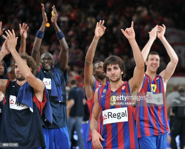 Ricky Rubio, #9 of Regal FC Barcelona celebrates after the Euroleague Basketball Senifinal 1 between Regal FC Barcelona vs CSKA Moscow at Bercy Arena...