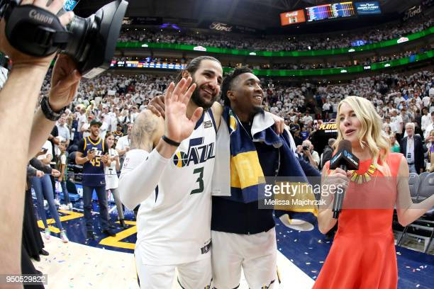Ricky Rubio and Donovan Mitchell of the Utah Jazz after the game against the Oklahoma City Thunder in Game Four of Round One of the 2018 NBA Playoffs...