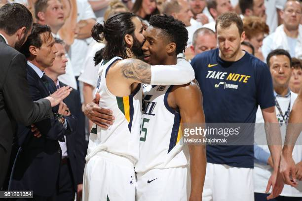 Ricky Rubio and Donovan Mitchell of the Utah Jazz hug after Game Four of Round One of the 2018 NBA Playoffs against the Oklahoma City Thunder on...