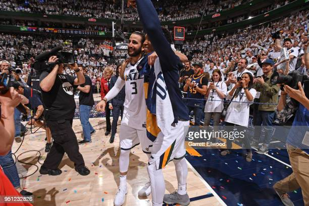 Ricky Rubio and Donovan Mitchell of the Utah Jazz react after Game Four of Round One of the 2018 NBA Playoffs against the Oklahoma City Thunder on...