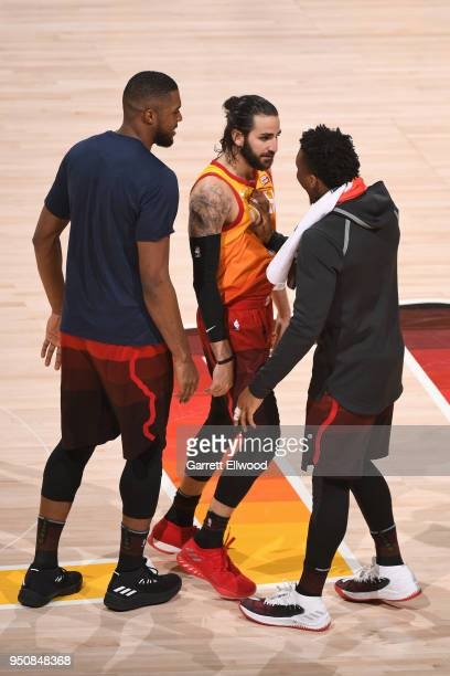 Ricky Rubio and Donovan Mitchell of the Utah Jazz reacts in Game Three of Round One of the 2018 NBA Playoffs against the Oklahoma City Thunder on...