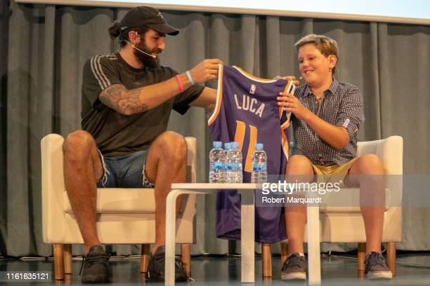 Ricky Rubio and Luca Vega attend a presentation of 'Projecte Luca' at the Hospital Vall d'Hebron on July 12 2019 in Barcelona Spain