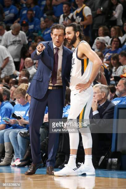 Ricky Rubio and Quin Snyder of the Utah Jazz talk during the game against the Oklahoma City Thunder in Game Five of Round One of the 2018 NBA...
