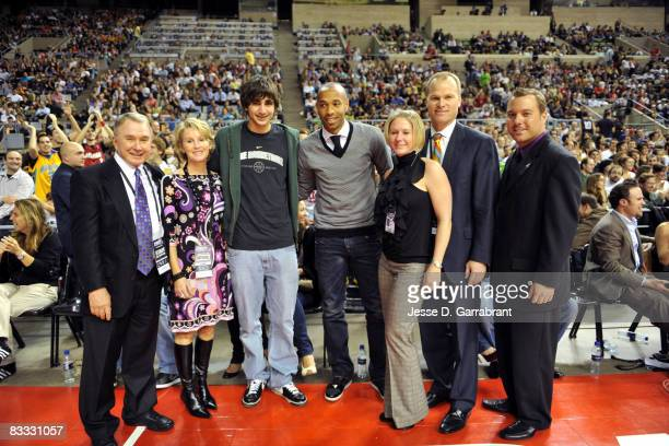 Ricky Rubio and Thierry Henry at the game during the 2008 NBA Europe Live Tour on October 17, 2008 at the Palau Sant Jordi in Barcelona, Spain. NOTE...