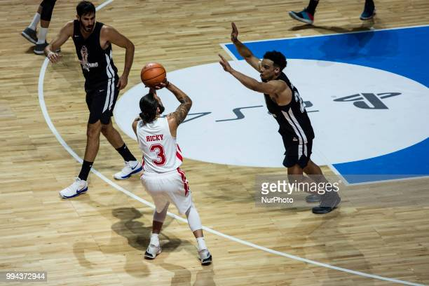 Ricky Rubio from Spain of Utah Jazz defended by Dillon Brooks from Canada of Memphis Grizzlies during the charity and friendly match Pau Gasol vs...