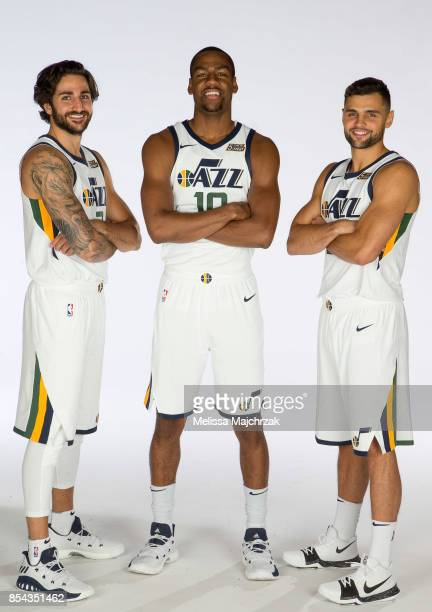 Ricky Rubio Joe Johnson and Raul Neto of the Utah Jazz poses for a photo during media day at Zions Bank Basketball Center on September 25 2017 in...