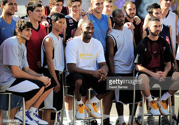 Ricky Rubio of Regal FC Barcelona Kobe Bryant of the Los Angeles Lakers and Juan Carlos Navarro of the Regal FC Barcelona pose with the 'House of...