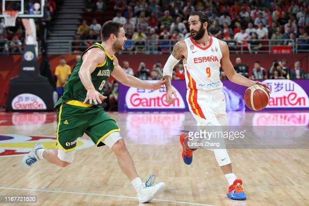 Ricky Rubio of Spain in action against Matthew Dellavedova of Australia during the semi-finals of 2019 FIBA World Cup match between Spain and...