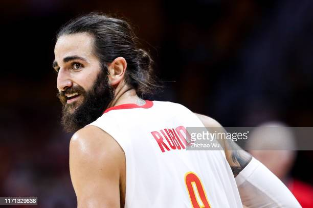 Ricky Rubio of Spain in action during the 2019 FIBA World Cup first round match between Spain and Tunisia at Guangzhou Gymnasium on August 31 2019 in...