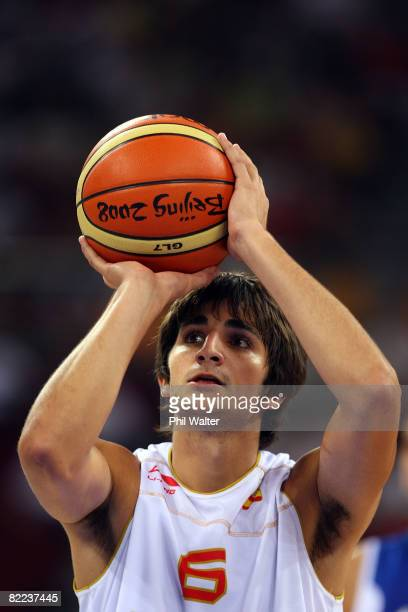 Ricky Rubio of Spain shoots a free throw while taking on Greece during the day 2 preliminary game at the Beijing 2008 Olympic Games in the Beijing...