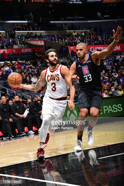 Ricky Rubio of the Cleveland Cavaliers drives to the basket against the LA Clippers on October 27, 2021 at STAPLES Center in Los Angeles, California....