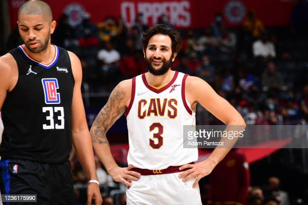 Ricky Rubio of the Cleveland Cavaliers smiles against the LA Clippers on October 27, 2021 at STAPLES Center in Los Angeles, California. NOTE TO USER:...