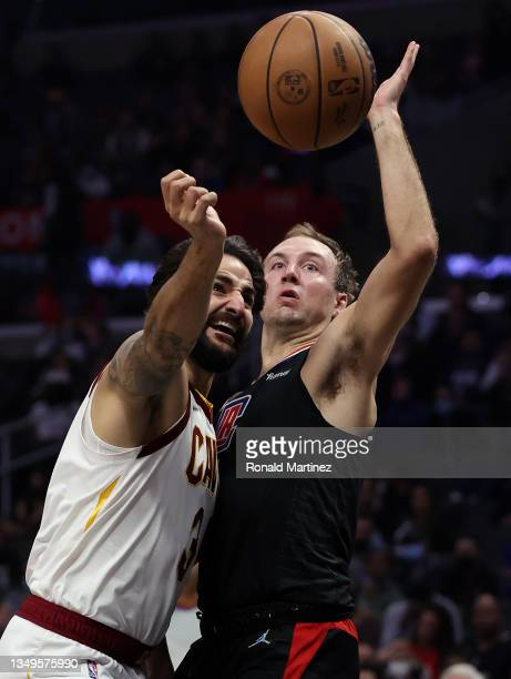 Ricky Rubio of the Cleveland Cavaliers takes a shot against Luke Kennard of the LA Clippers in the second quarter at Staples Center on October 27,...