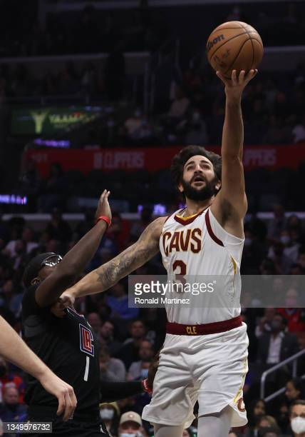 Ricky Rubio of the Cleveland Cavaliers takes a shot against Reggie Jackson of the LA Clippers in the second quarter at Staples Center on October 27,...