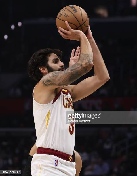 Ricky Rubio of the Cleveland Cavaliers takes a shot against the LA Clippers in the second quarter at Staples Center on October 27, 2021 in Los...