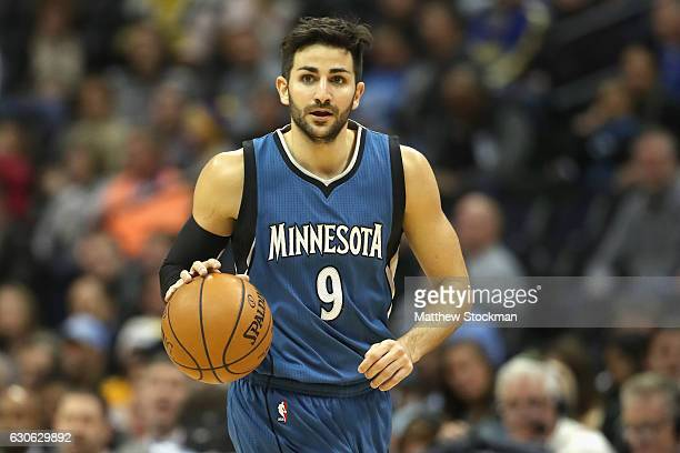 Ricky Rubio of the Minnesota Timberwolves brings the ball down court against the Denver Nuggets at the Pepsi Center on December 28 2016 in Denver...
