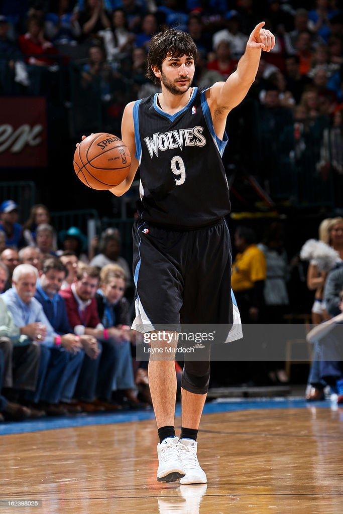 Ricky Rubio #9 of the Minnesota Timberwolves directs his team against the Oklahoma City Thunder on February 22, 2013 at the Chesapeake Energy Arena in Oklahoma City, Oklahoma.