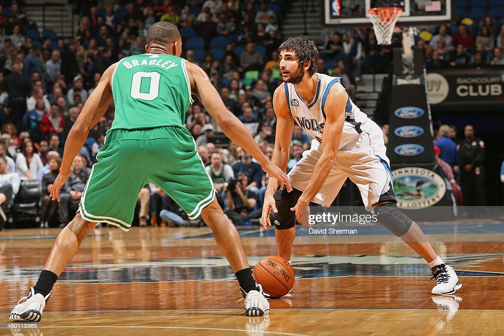 Ricky Rubio #9 of the Minnesota Timberwolves dribbles the ball against the Boston Celtics on November 16, 2013 at Target Center in Minneapolis, Minnesota.
