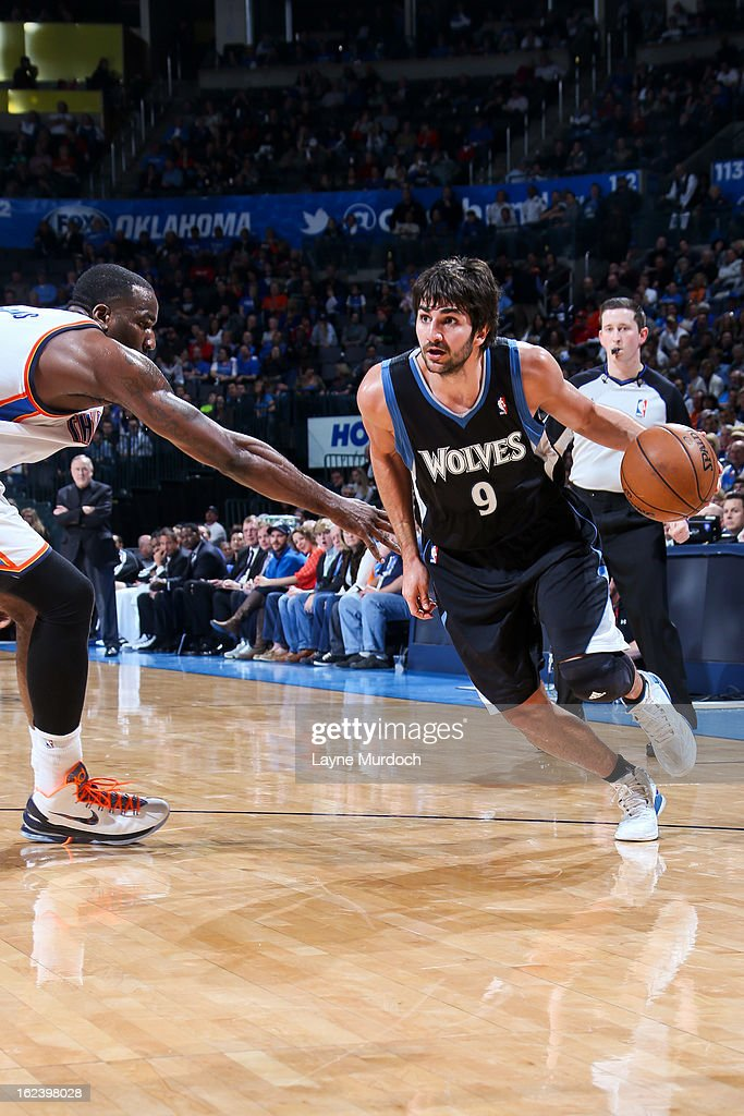 Ricky Rubio #9 of the Minnesota Timberwolves drives against Kendrick Perkins #5 of the Oklahoma City Thunder on February 22, 2013 at the Chesapeake Energy Arena in Oklahoma City, Oklahoma.