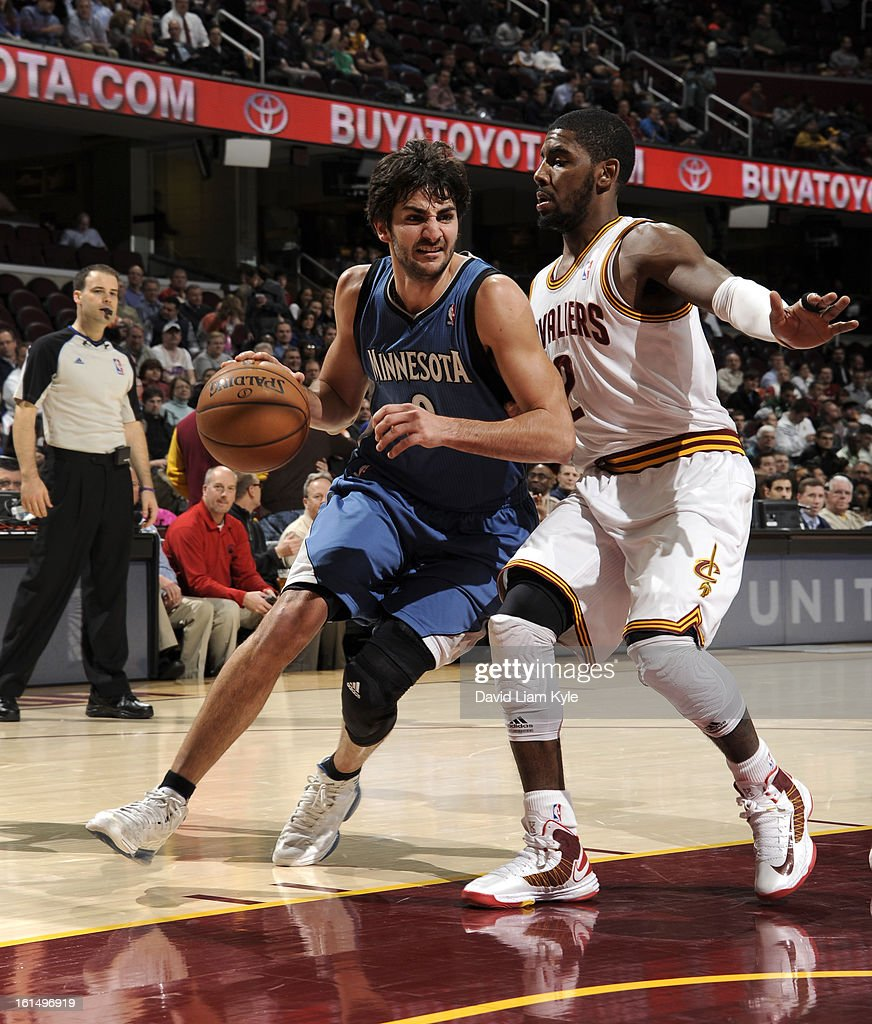 Ricky Rubio #9 of the Minnesota Timberwolves drives to the basket against Kyrie Irving #2 of the Cleveland Cavaliers at The Quicken Loans Arena on February 11, 2013 in Cleveland, Ohio.