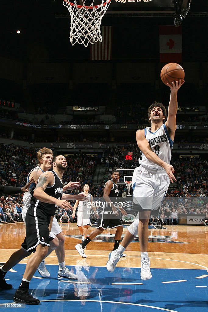 Ricky Rubio #9 of the Minnesota Timberwolves drives to the basket against the Brooklyn Nets on January 23, 2013 at Target Center in Minneapolis, Minnesota.