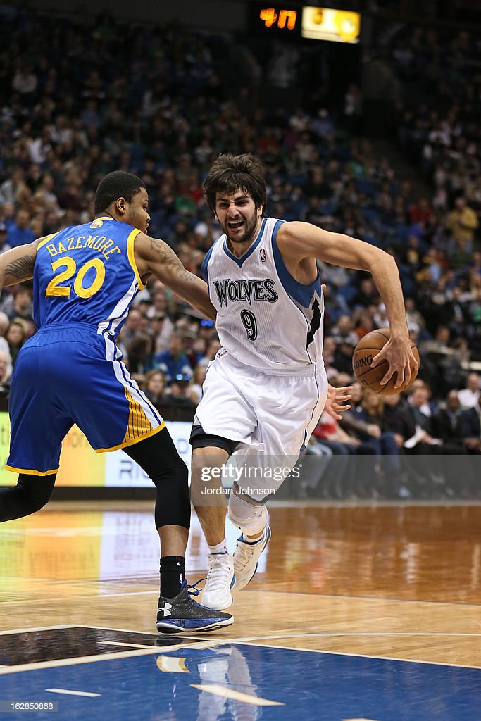 Ricky Rubio #9 of the Minnesota Timberwolves drives to the basket against the Golden State Warriors on February 24, 2013 at Target Center in Minneapolis, Minnesota.