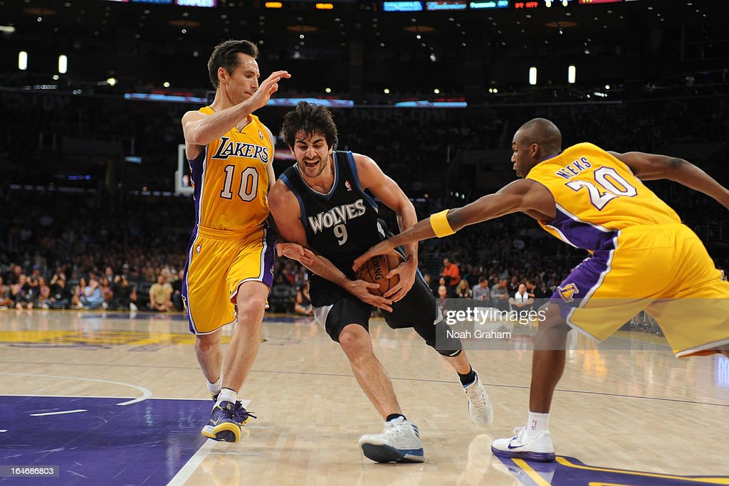 Ricky Rubio #9 of the Minnesota Timberwolves drives to the basket against the Los Angeles Lakers at Staples Center on February 28, 2013 in Los Angeles, California.
