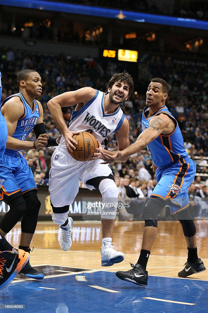 Ricky Rubio #9 of the Minnesota Timberwolves drives to the basket against the Oklahoma City Thunder on March 29, 2013 at Target Center in Minneapolis, Minnesota.